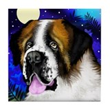 SAINT BERNARD DOG MOON Tile Coaster
