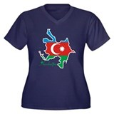 Cool Azerbaijan Women's Plus Size V-Neck Dark T-Sh