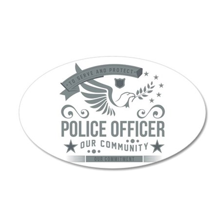 Community Police Officer 35x21 Oval Wall Decal