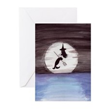 Mermaid Witch in the Moonlight Greeting Cards (Pk