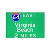 Virgina Beach VA 64 E Rectangle Magnet (100 pack)