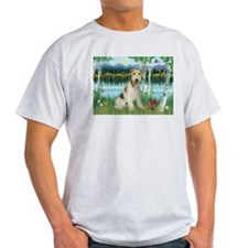 Wire Fox Terrier in Birches Ash Grey T-Shirt