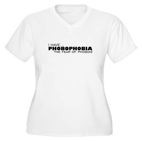 Phobia-Phobia Women's Plus Size V-Neck T-Shirt