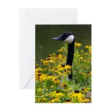 Goose in the Flowers Greeting Card