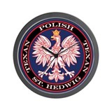 St. Hedwig Round Polish Texan Wall Clock