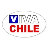 Viva Chile flag Oval Decal