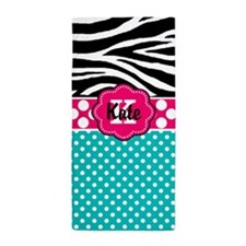 Zebra Pink Teal Dots Personalized Beach Towel