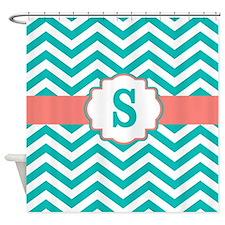 Teal Coral Chevron Monogram Shower Curtain