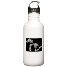 Great Lakes (white on black) Water Bottle