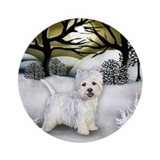 WESTIE DOG WINTER SUNSET Ornament (Round)