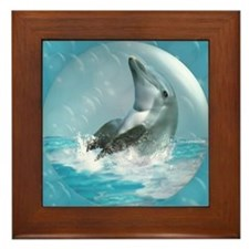 Bubble Dolphin Framed Tile