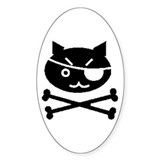 PIRATE CAT (BLK) Oval Decal