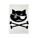 PIRATE CAT (BLK) Rectangle Magnet (100 pack)