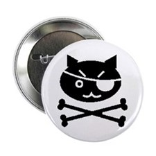 "PIRATE CAT (BLK) 2.25"" Button (10 pack)"