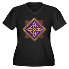 3-D Witches Knot Women's Plus Size V-Neck Dark T-S