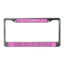 Pink Polka Dot Chinese Crested License Plate Frame
