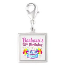 75TH CELEBRATION Silver Square Charm