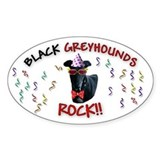 Black Greyhounds Rock Oval Decal