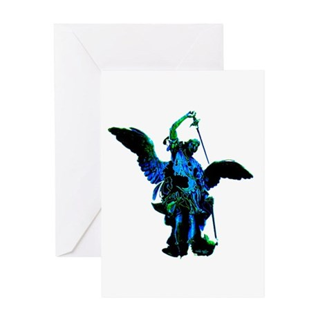 Powerful Angel - Blue Greeting Card