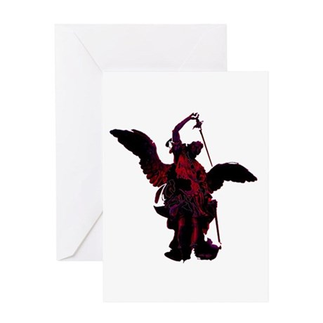Powerful Angel - Red Greeting Card
