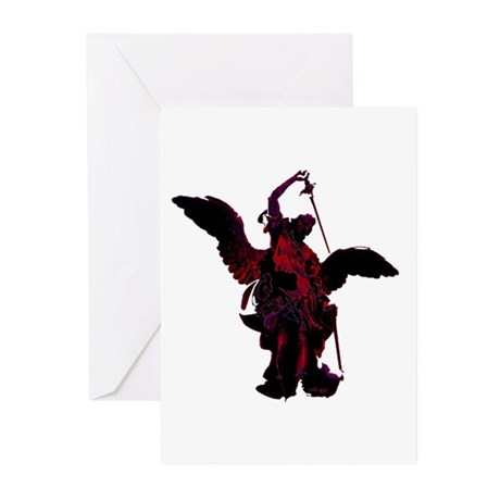 Powerful Angel - Red Greeting Cards (Pk of 10)