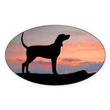 Sunset Coonhound Oval Decal