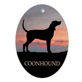 Sunset Coonhound Oval Ornament