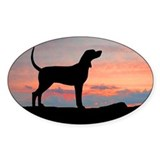 Redbone Coonhound Sunset Oval Decal