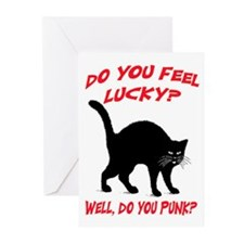 DO YOU FEEL LUCKY? (BLACK CAT) Greeting Cards (Pk