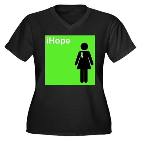 iHope (lime green) Women's Plus Size V-Neck Dark T