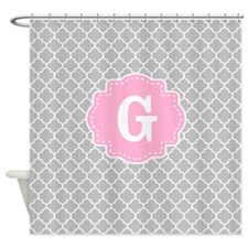 Gray Pink Quatrefoil Monogram Shower Curtain