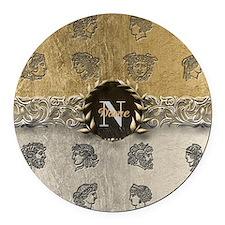Ancient Gold Platinum Sq Monogram Round Car Magnet