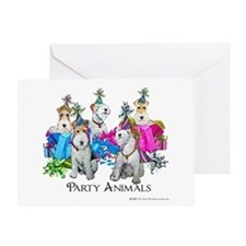 Fox Terrier Party Animals Greeting Card