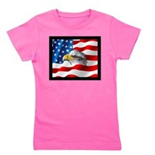 Bald Eagle On American Flag Girl's Tee