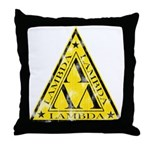 Worn Lambda Lambda Lambda Throw Pillow