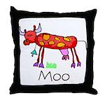 Kid Art Cow Throw Pillow
