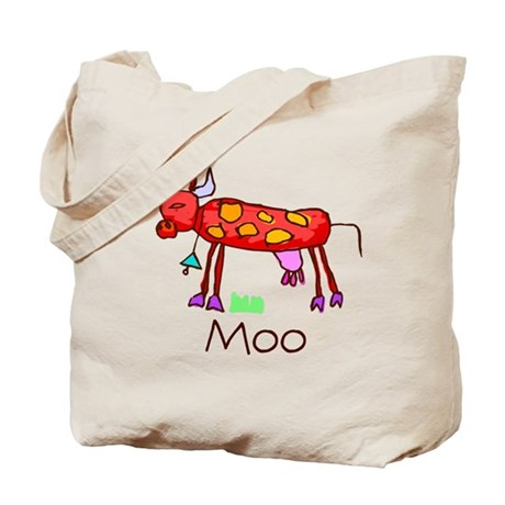 Kid Art Cow Tote Bag