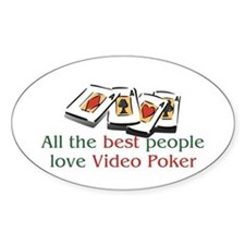 Video Poker Oval Decal