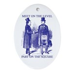 Meeting On the Level - Masonic Blue Ornament (Ova