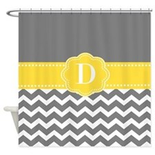 Gray Yellow Chevron Monogram Shower Curtain