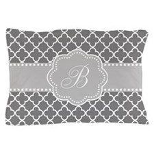 Gray Quatrefoil Monogram Pillow Case