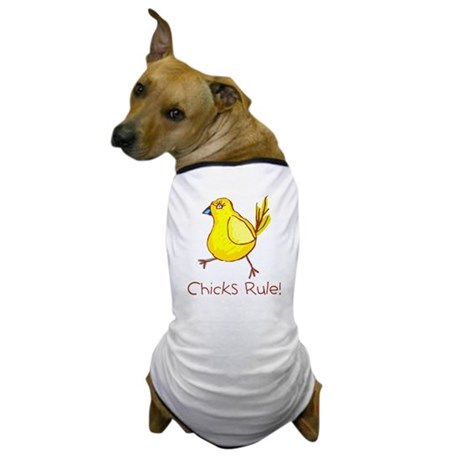 Kid Art Chicks Rule Dog T-Shirt