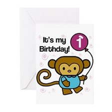 Monkey 1st Birthday Greeting Cards (Pk of 20)