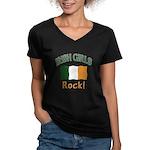 Irish Grils Rock Women's V-Neck Dark T-Shirt