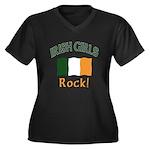 Irish Grils Rock Women's Plus Size V-Neck Dark T-S