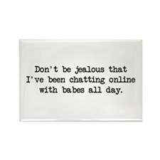 Chatting Online (blk) - Napoleon Rectangle Magnet