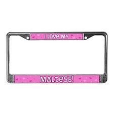 Pink Polka Dot Maltese License Plate Frame