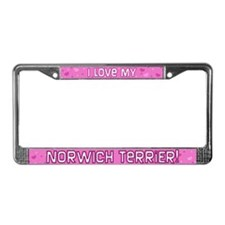 Pink Polka Dot Norwich Terrier License Plate Frame