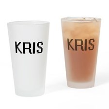 Kris Digital Name Design Drinking Glass