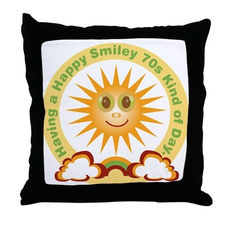 70s Happy Sunshine Throw Pillow